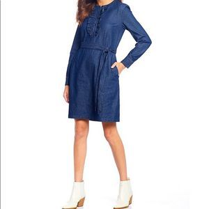 Draper James Chambray Ruffle Tie Waist Shift Dress